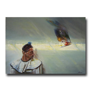 Original painting entitled Harlequin by Moldovan artist Robert Ixari