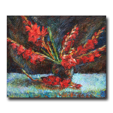 Original painting Gladiolas by Veronica Iftodii