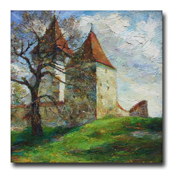 Original painting Church in Merghendeal by Veronica Iftodii