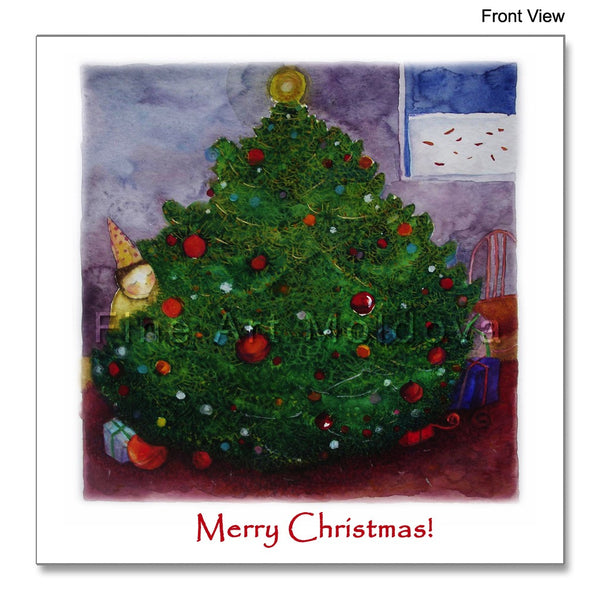 Front view of the Christmas Card featuring Cezara Kolesnik's painting Expectation