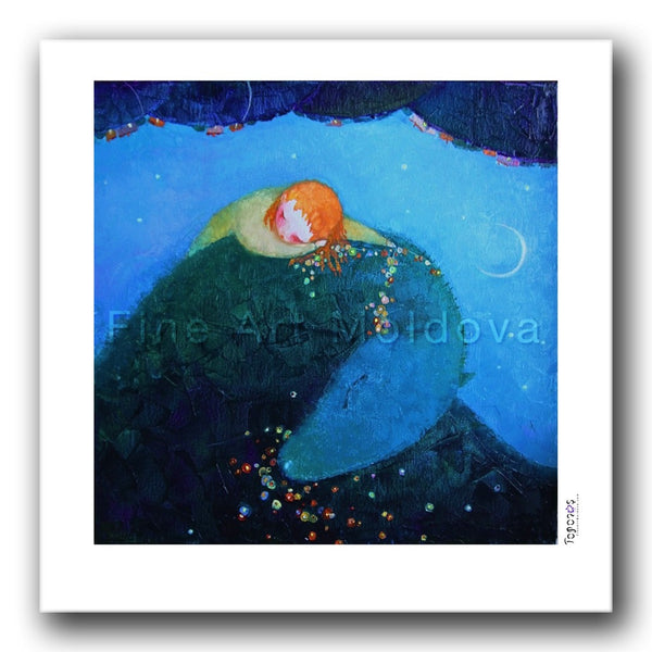 Fine art print titled Dream with a Green Dragon by Moldovan artist Cezara Kolesnik