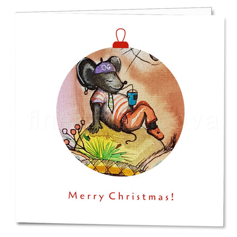 Cover of the Christmas Card Mice and Cat by Tatiana Kaymaz