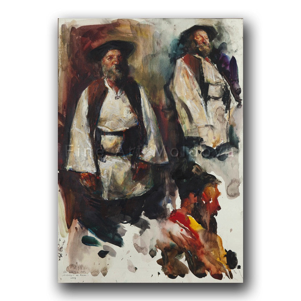 Original painting entitled Expressions of Gypsies by Moldovan artist Gheorghe Lisiţa