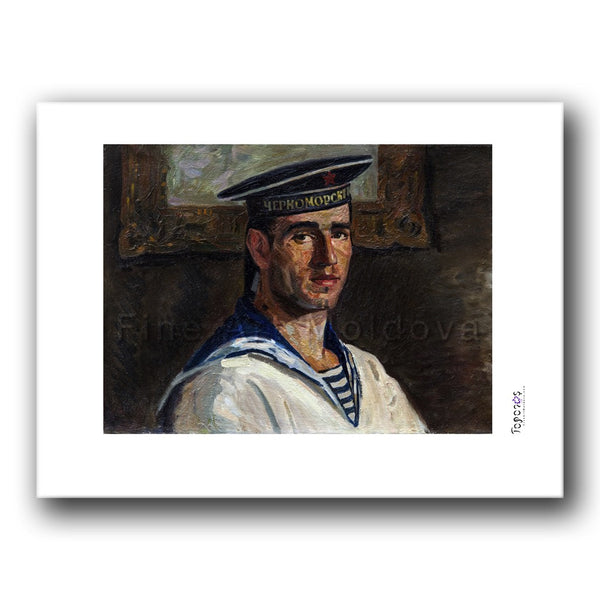 Fine art print titled Self Portrait by Moldovan artist Gheorghe Munteanu