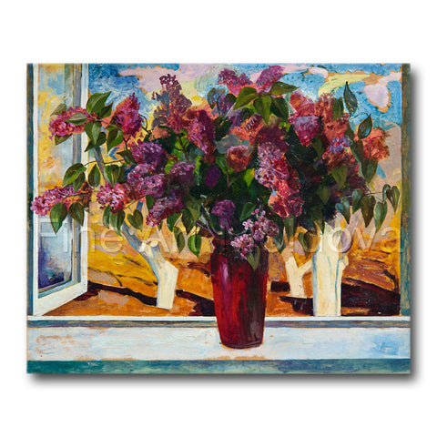 Original painting titled Lilac by Moldovan artist Gheorghe Munteanu