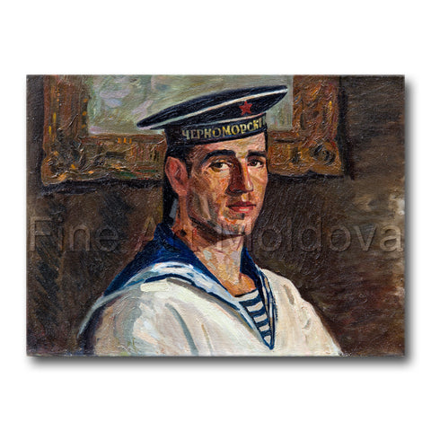 Original painting titled Self Portrait by Moldovan artist Gheorghe Munteanu