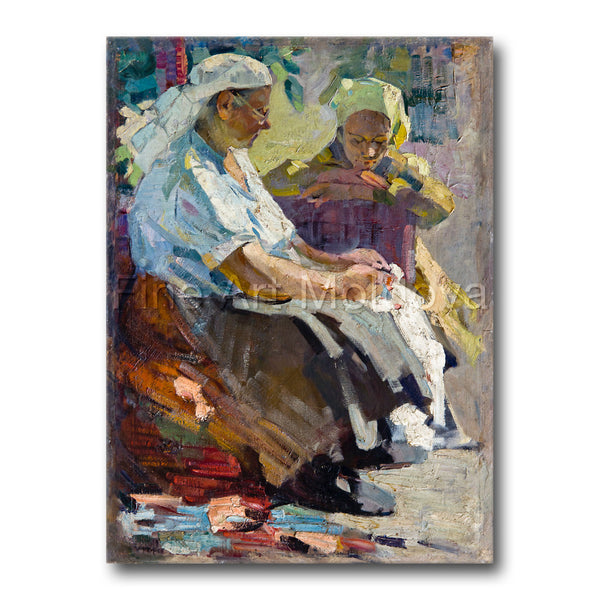 Original painting titled Talk with Grandma by Moldovan artist Gheorghe Munteanu