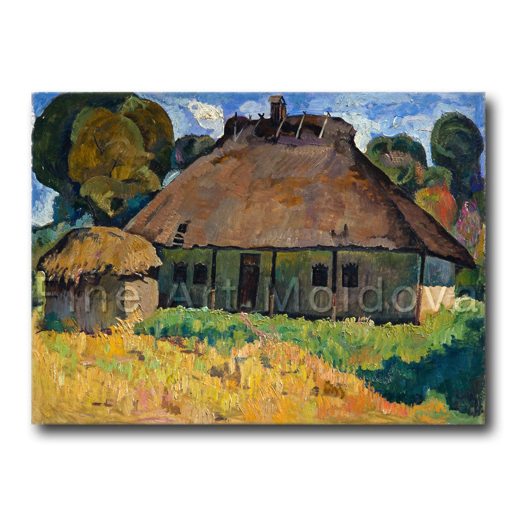 Original painting titled Old House by Moldovan artist Gheorghe Munteanu