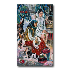 Original painting titled Two Generations by Moldovan artist Gheorghe Munteanu