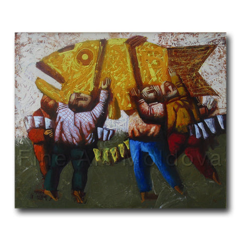 Original painting titled Rich Catch by Moldovan artist Vadim Palamarciuc