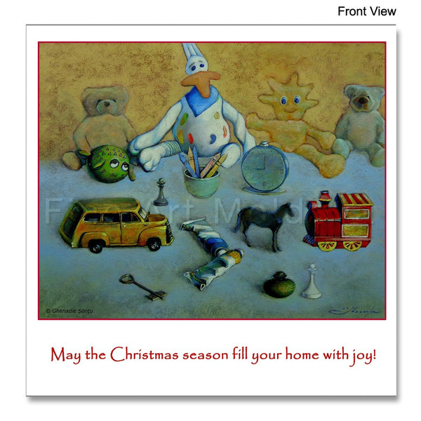 Front view of the Christmas Card featuring Grenade Șonțu's painting The Childhood Story