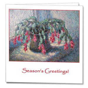 Cover of the Christmas Card featuring Gheorghe Țărnă's painting Christmas Cactus