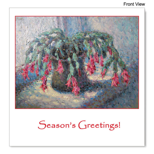 Front view of the Christmas Card featuring Gheorghe Țărnă's painting Christmas Cactus