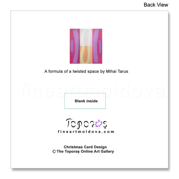 Back view of the Christmas Card A Formula of a Twisted Space by Mihai Tarus