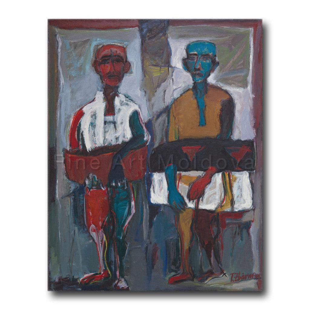 Original painting titled Father and Son by Moldovan artist Tudor Zbârnea