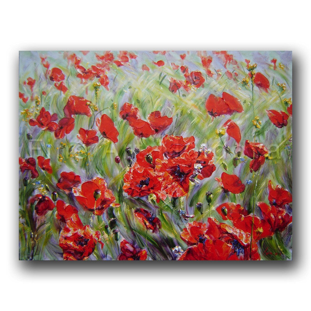 Original painting entitled Field of Poppies by Moldovan artist Robert Ixari