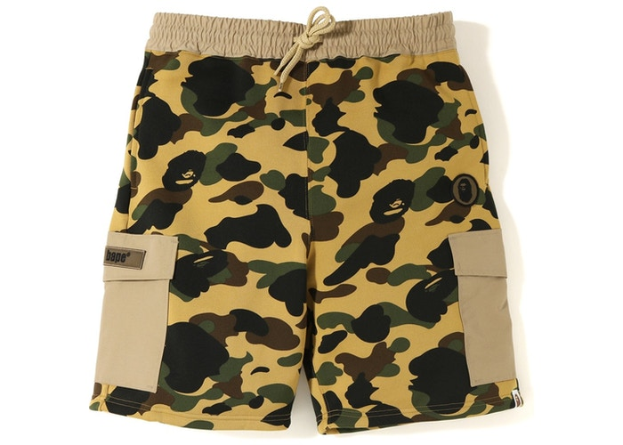 BAPE 1st Camo Sweat Cargo Shorts Yellow