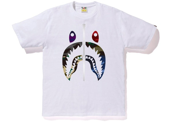 BAPE Mix Camo Shark Tee White