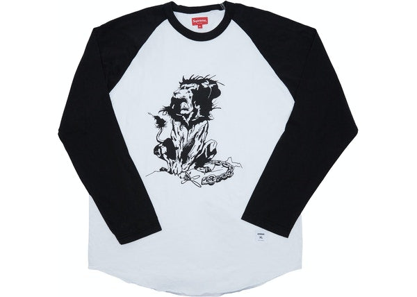 Supreme Lion Raglan Baseball Top Black