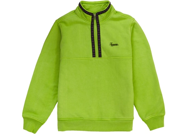 Supreme Overdyed Half Zip Sweatshirt Lime
