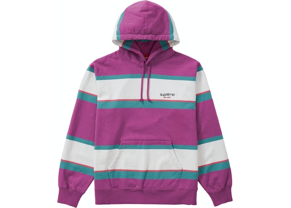 Supreme Stripe Hooded Sweatshirt Dusty Magenta