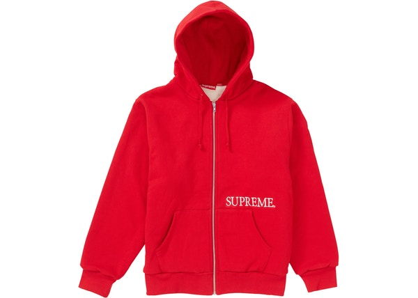 Supreme Thermal Zip Up Hooded Sweatshirt Red