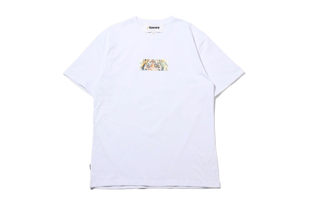 atmos x Dave White Tiger Box Logo Tee White