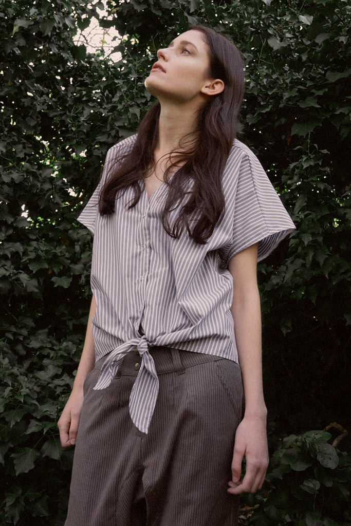 Striped Front Tie Shirt