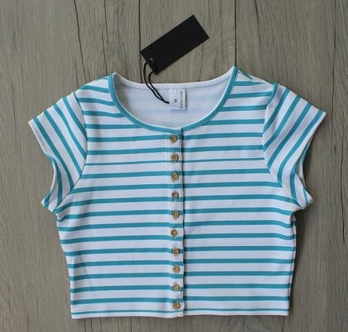 Blue Stripes Urbane Crop Top