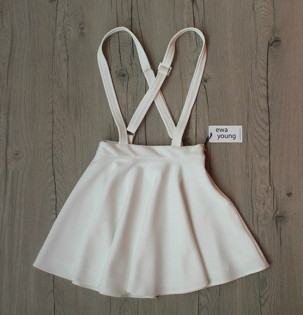 White Suspender Skater Skirt