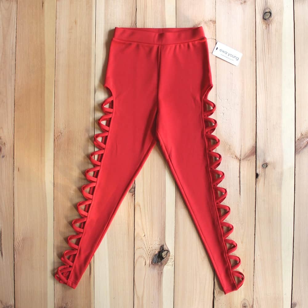 Athleisure Cross Panel Leggings - Red