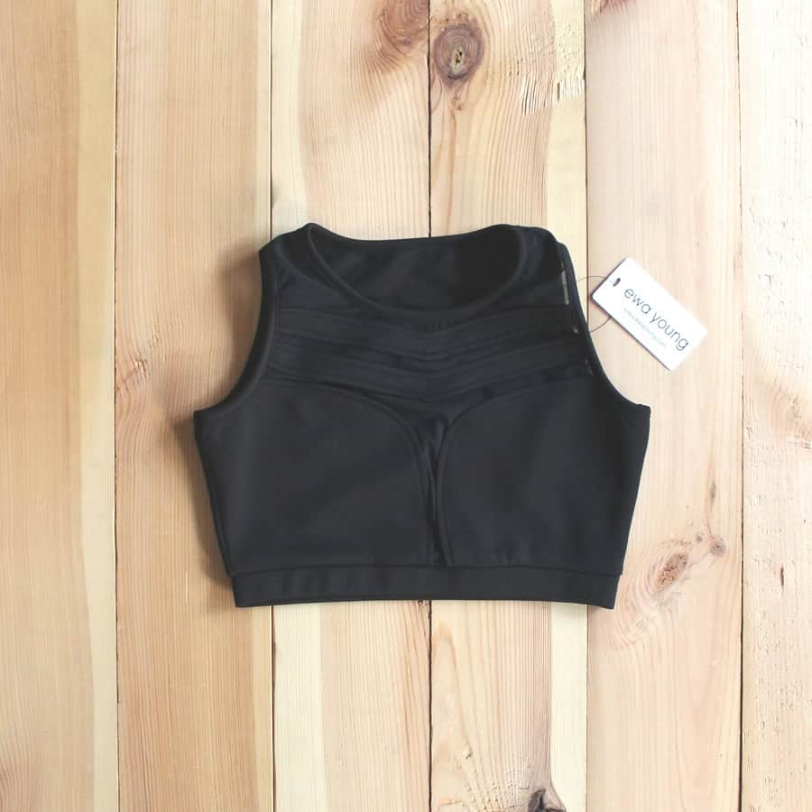 Athleisure Mesh Panel Crop top - Black