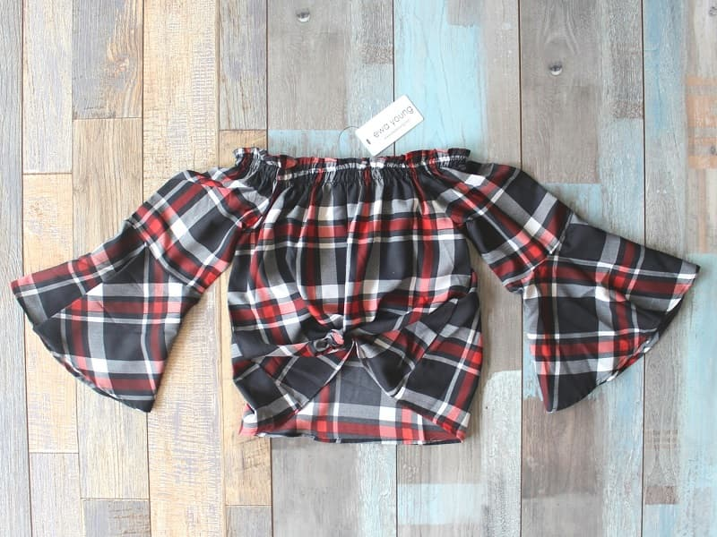 All Checks Crop Top (Off Shoulder) - Black