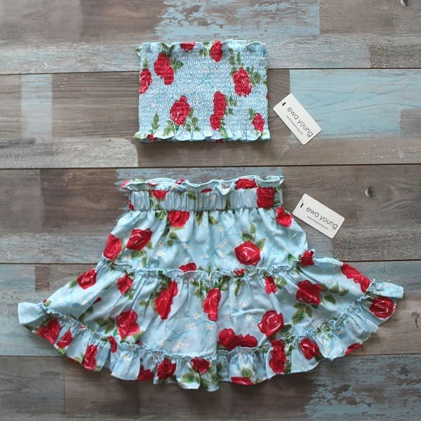 Beach Baby Combo - Blue Floral