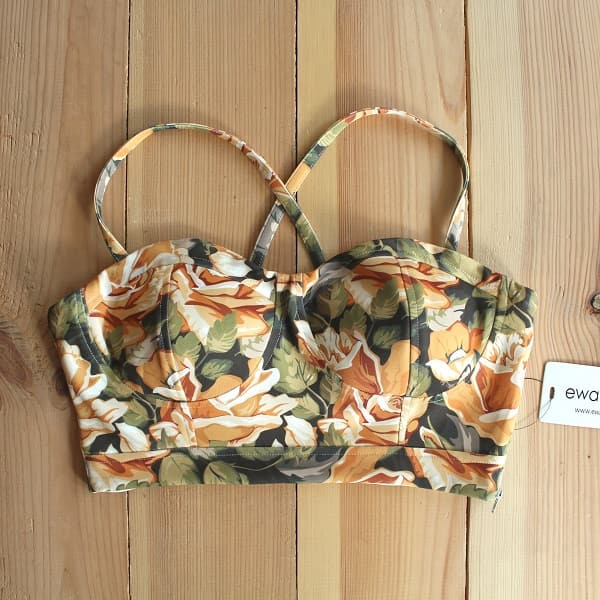 Yellow Floral Senorita Crop Top (Padded)