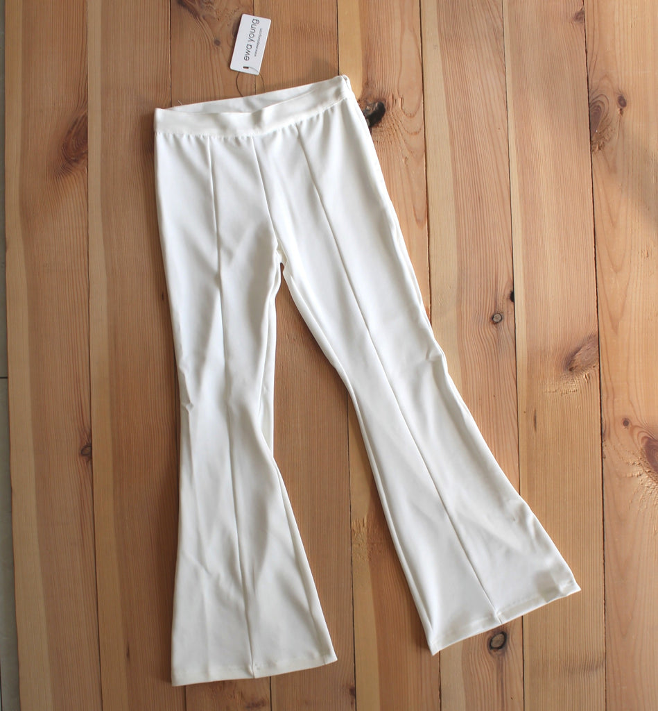 White Flared Pants - High Waist