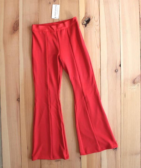 Red Flared Pants - High Waist