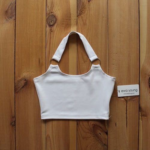Halter Crop Top with Ring Detail - White