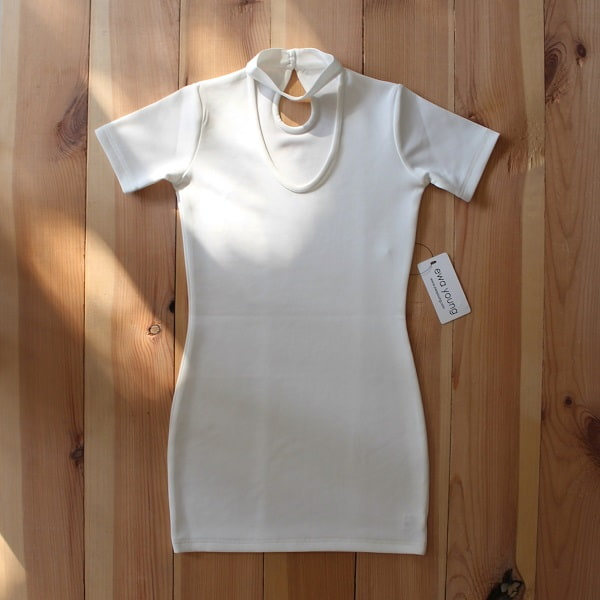 Choker Detail Bodycon Dress - White