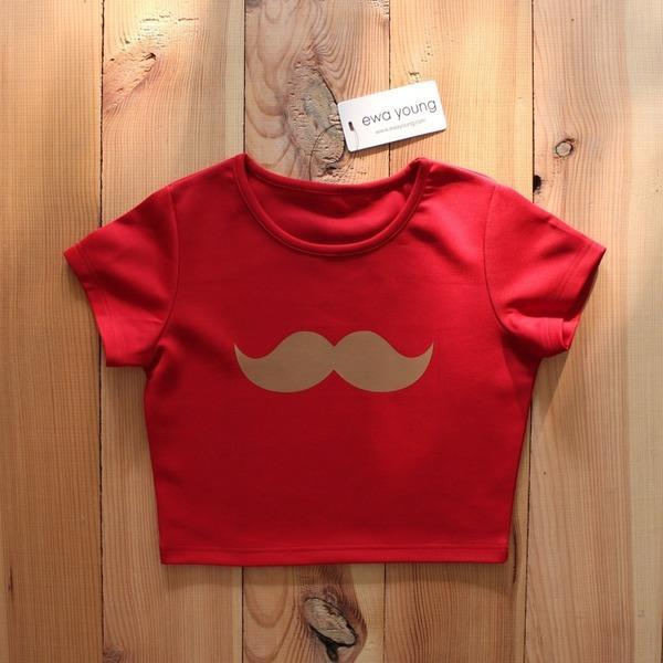 Moustache Red Crop Top