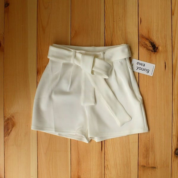 White Pleated High Waist Shorts