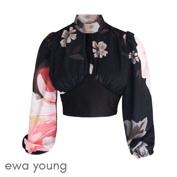 Mystique Crop Top - Black Floral