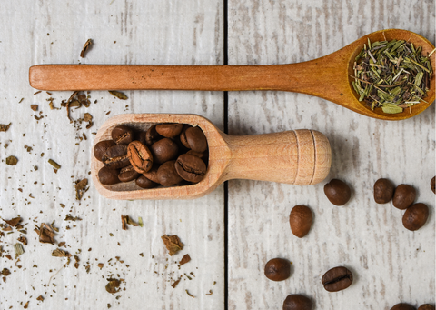 a spoon of coffee beans vs a spoon of tea leaves