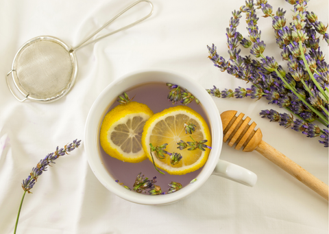 a lavender tea made healthier with slices of lemon