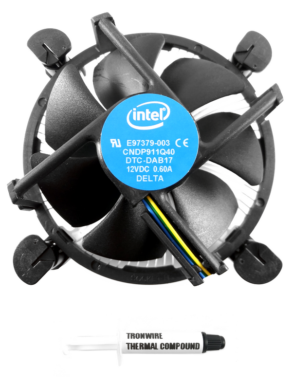 Intel Core i3 i5 i7 Socket 1151 1150 1155 1156 4-Pin Connector CPU Cooler With Aluminum Heatsink & 3.5-Inch Fan With TRONWIRE Thermal Paste For Desktop PC Computer