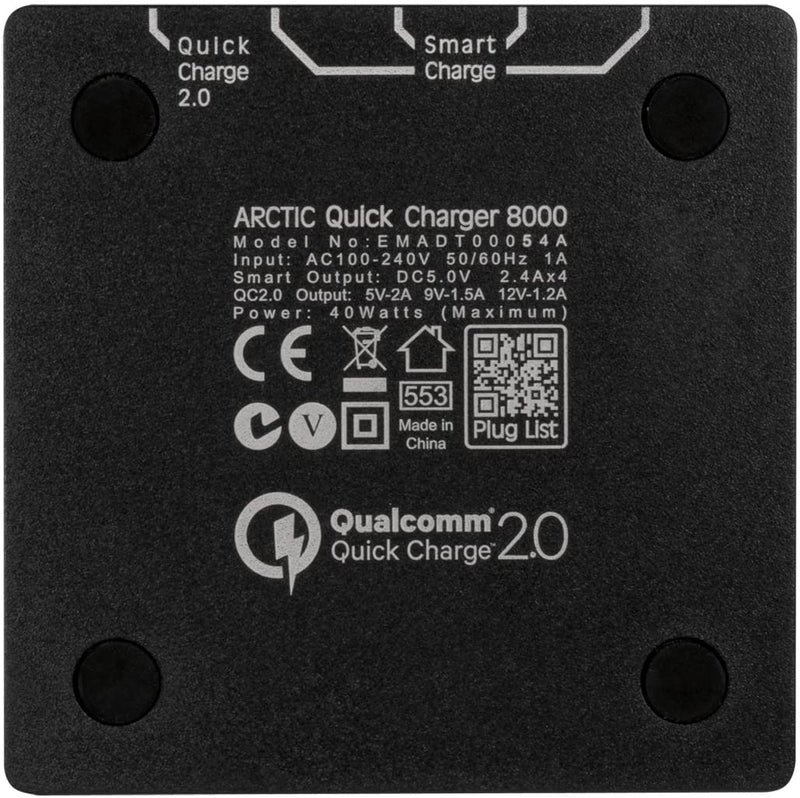 ARCTIC Quick Charger 8000, Multiple USB Charger Station, 5 Port USB Desktop Charger With Quick Charge, Compatible With All Smartphones, Tablets And USB Devices