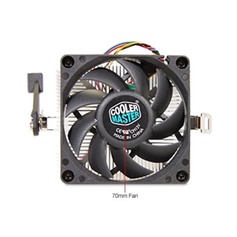 Cooler Master AMD Socket FM2 FM1 AM3 AM2 1207 940 939 754 4-Pin Connector CPU Cooler With Aluminum Heatsink & 2.75-Inch Fan With Pre-Applied Thermal Paste For Desktop PC Computer