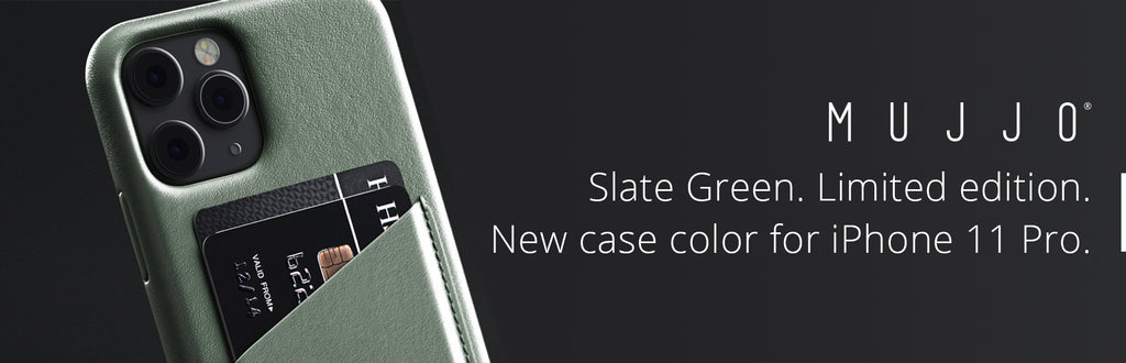 Mujjo iPhone 11 cases in limited edition Slate Green