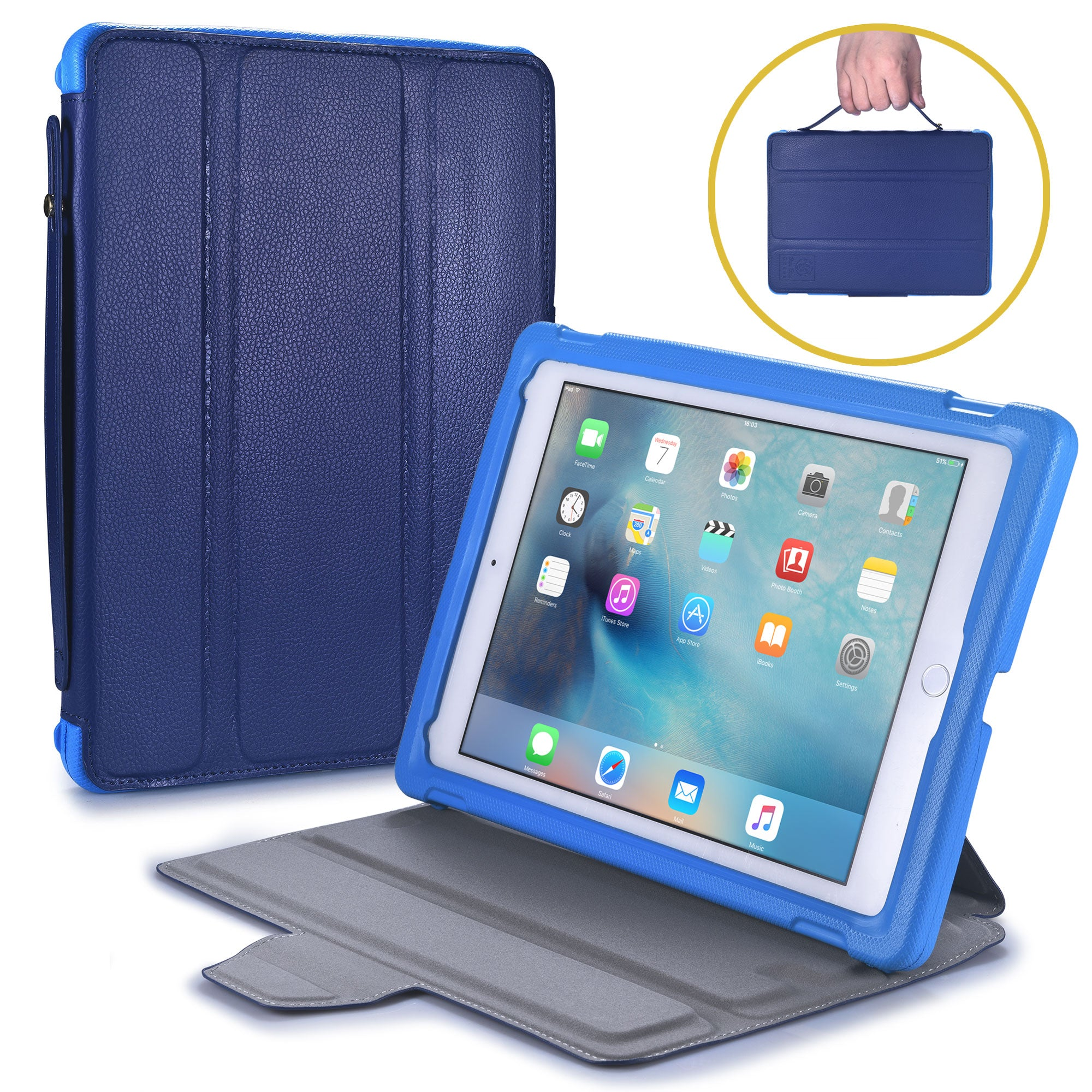 Bam Bino Box Shock Proof Case with Built-in Stand Handle for Apple iPad Pro 9.7, iPad 6, iPad 5, iPad Air 2, iPad Air 1