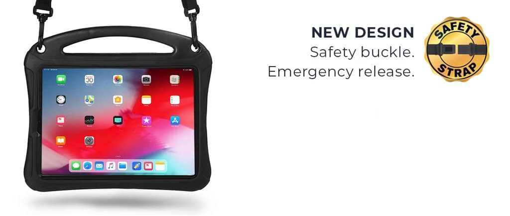 New Safety buckle shoulder strap design for iPad 8th / 7th Gen, iPad Air 3, iPad Pro 10.5